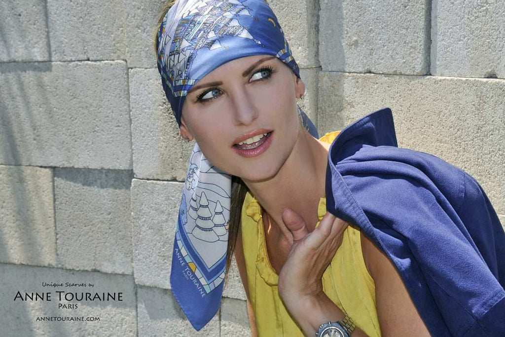 French silk scarves by ANNE TOURAINE Paris™: Russia inspired blue scarf tied as a modern extra large headband