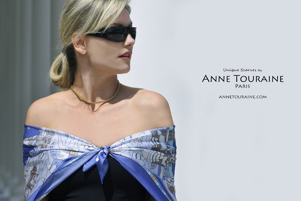 French silk scarves by ANNE TOURAINE Paris™: Russia inspired blue scarf tied as low shoulder wrap