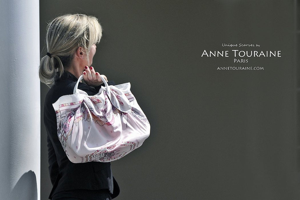 French silk scarves by ANNE TOURAINE Paris™: Russia inspired pink scarf wrapping completely a handbag