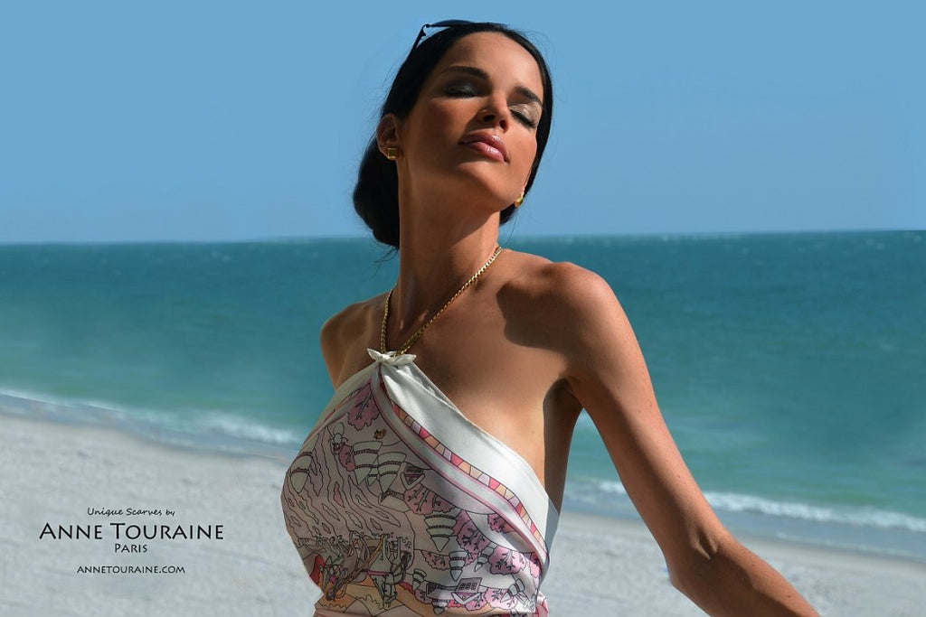 French silk scarves by ANNE TOURAINE Paris™: Russia inspired pink scarf turned into a stunning halter top