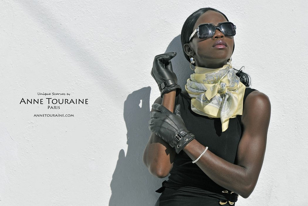 French silk scarves by ANNE TOURAINE Paris™: Paris inspired yellow scarf tied as fluffy neck scarf