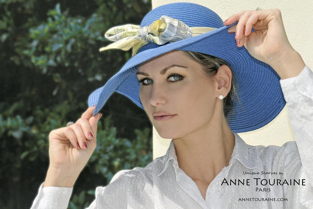 French silk scarves by ANNE TOURAINE Paris™: Paris inspired yellow scarf tied around a hat with a front bow