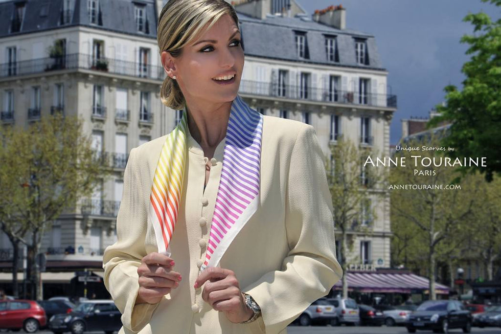 French silk scarves by ANNE TOURAINE Paris™: Multicolor striped scarf wrapped in a casual way around the neck