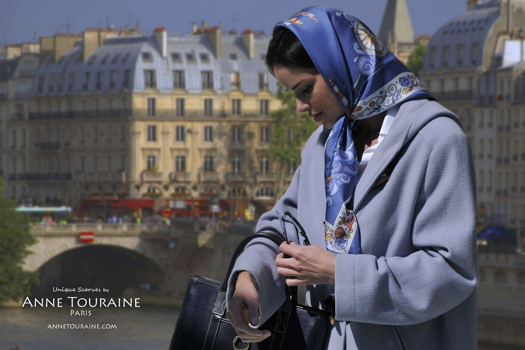 French silk scarves by ANNE TOURAINE Paris™: Nautical blue scarf tied as classic head cover