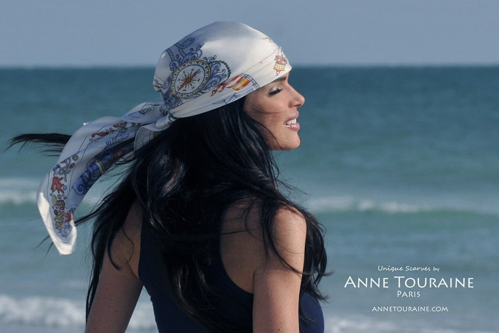 French silk scarves by ANNE TOURAINE Paris™: Nautical grey scarf tied Pirate Way