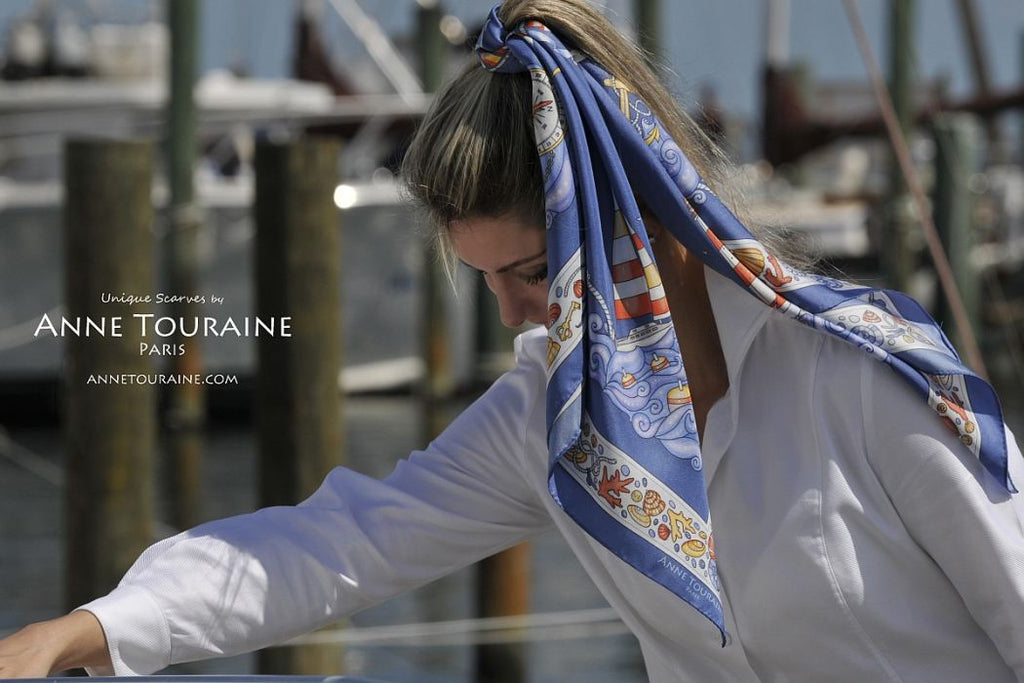 French silk scarves by ANNE TOURAINE Paris™: Nautical blue scarf around a high ponytail
