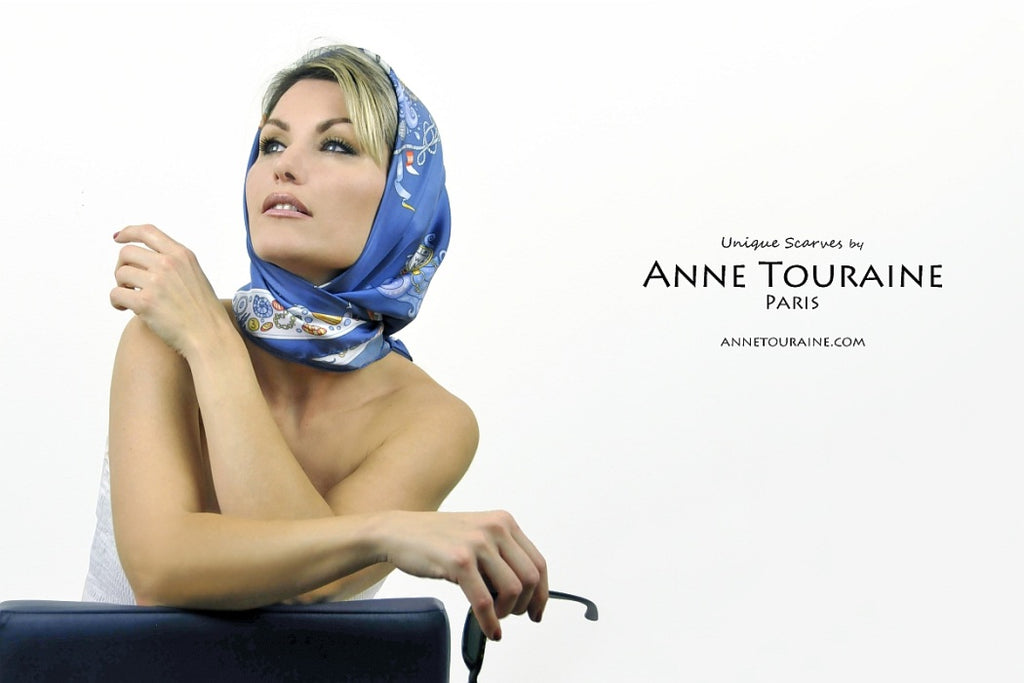French silk scarves by ANNE TOURAINE Paris™: Nautical blue headscarf styled à la Grace Kelly
