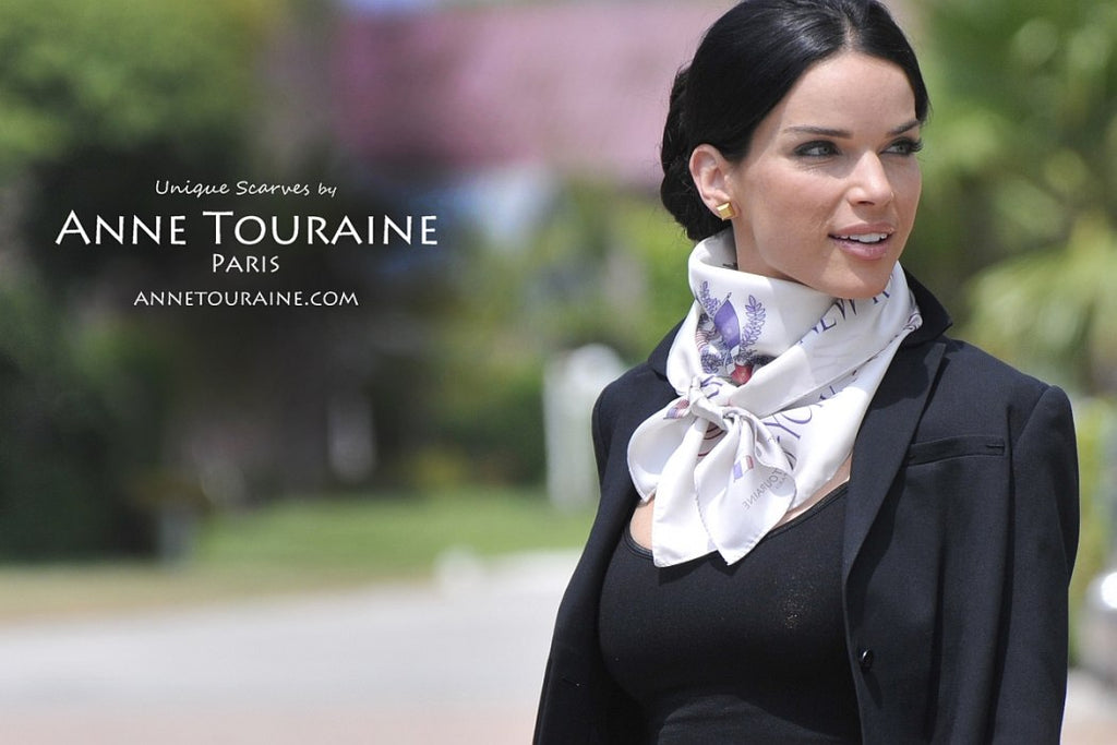 French silk scarves by ANNE TOURAINE Paris™: Paris New York white scarf tied as a kerchief