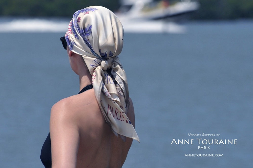 French silk scarves by ANNE TOURAINE Paris™: Paris New York scarf tied as a pirate head scarf