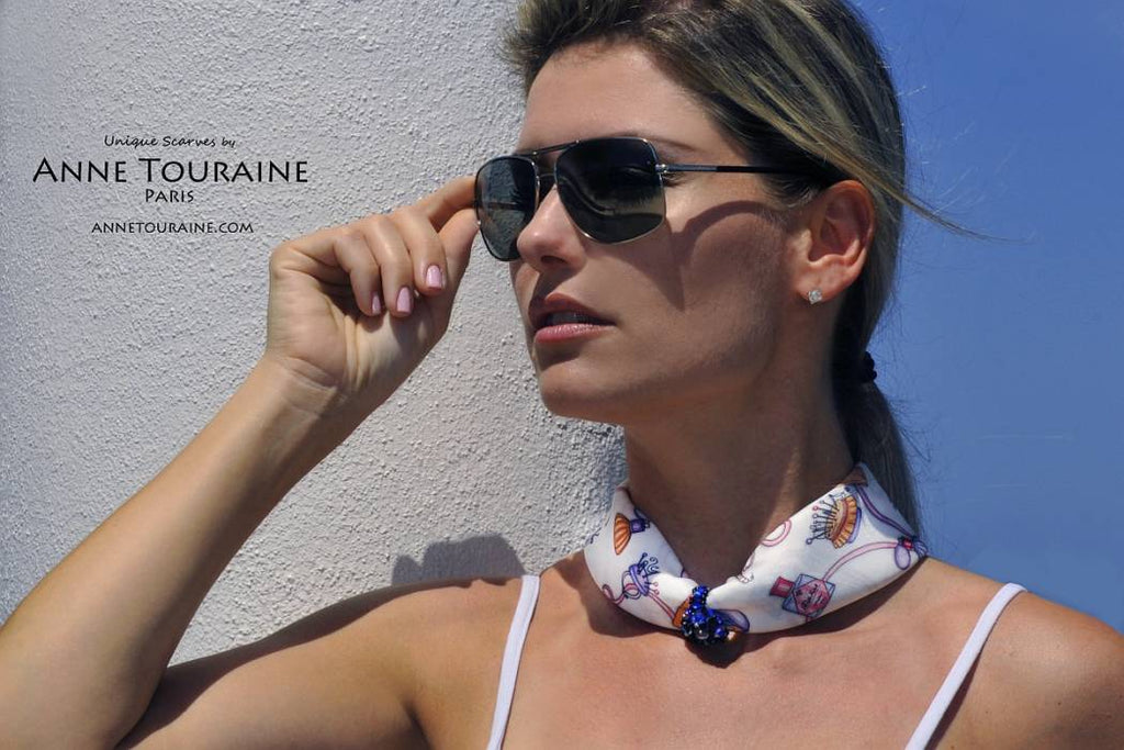 French silk scarves by ANNE TOURAINE Paris™: Blue and white Fashion Accessories scarf pulled through a fancy ring and tied a narrow neck scarf