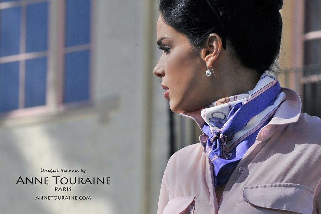 French silk scarves by ANNE TOURAINE Paris™: Blue and white Fashion Accessories scarf tied as a kerchief