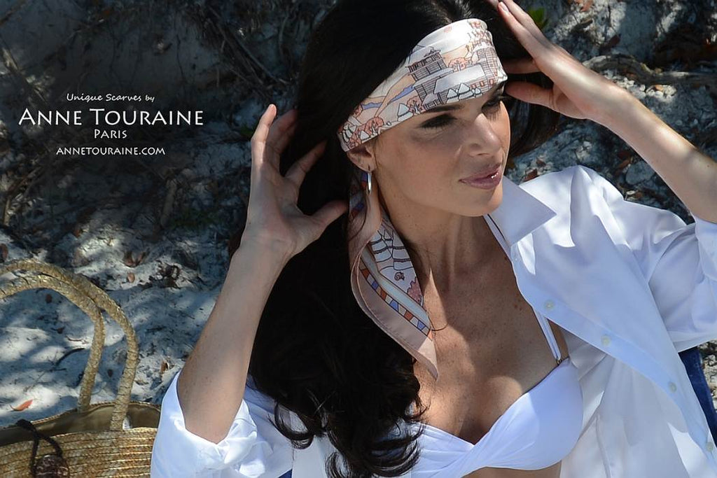 French silk scarves by ANNE TOURAINE Paris™: Russia inspired peach scarf tied a large and low-on-the-forehead headband