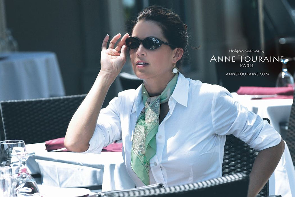 French silk scarves by ANNE TOURAINE Paris™: Paris inspired green scarf simply tied around the neck