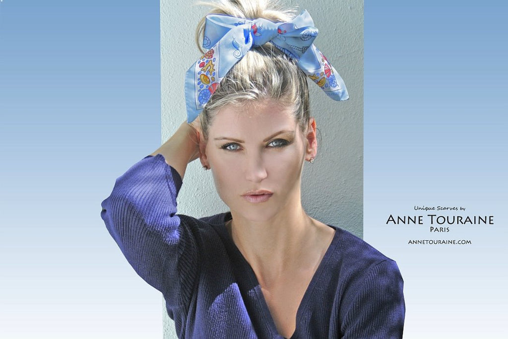 French silk scarves by ANNE TOURAINE Paris™: Nautical blue scarf as a fancy hair scarf with a large knot to the front