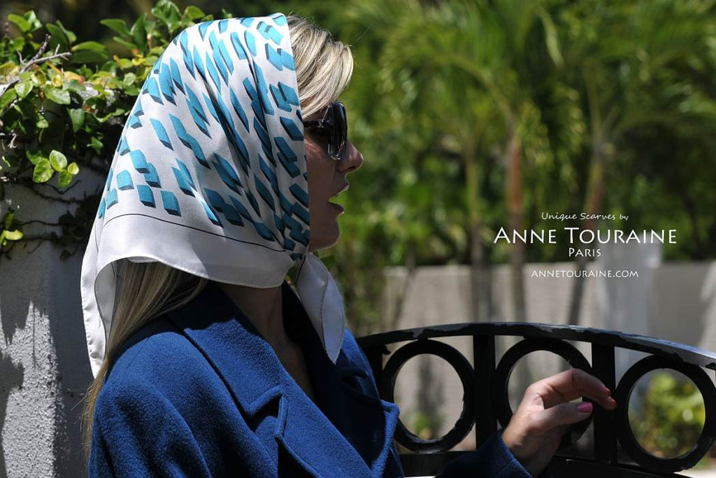 French silk scarves by ANNE TOURAINE Paris™: Teal and white geometric scarf tied as a short headscarf