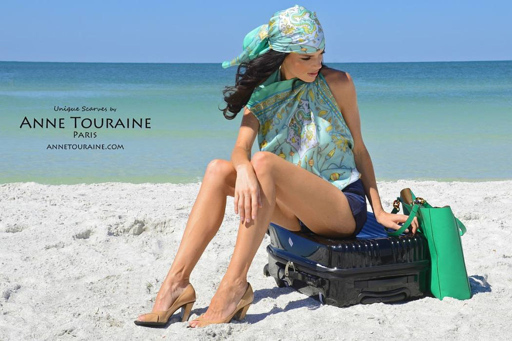 French silk scarves by ANNE TOURAINE Paris™: China inspired neon green scarf combination; one as a halter top; one as a pirate scarf