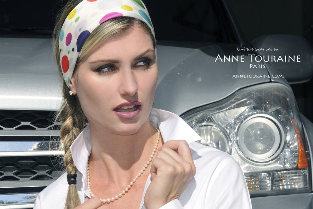 French silk scarves by ANNE TOURAINE Paris™: Multicolor polka dot scarf tied as fancy headband