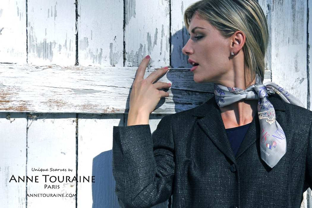 French silk scarves by ANNE TOURAINE Paris™: Paris New York grey scarf tied at the side of the neck