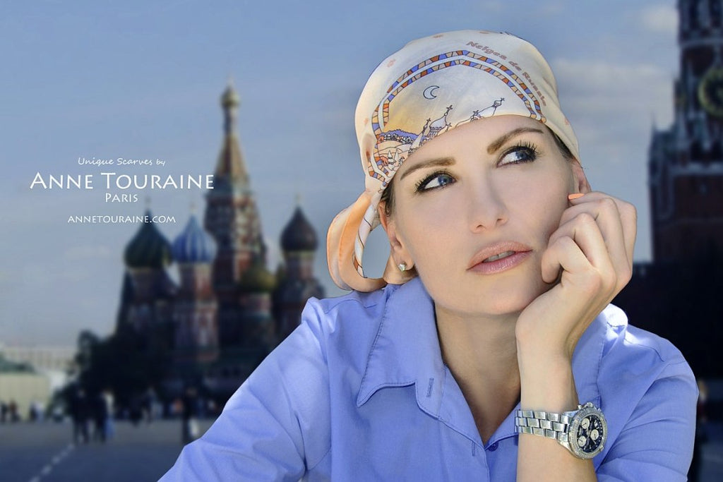 French silk scarves by ANNE TOURAINE Paris™: Russia inspired peach scarf tied as a mini pirate headscarf