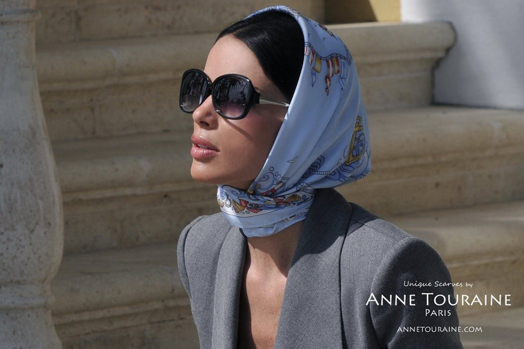 French silk scarves by ANNE TOURAINE Paris™: Nautical blue scarf as a Kelly mini headscarf