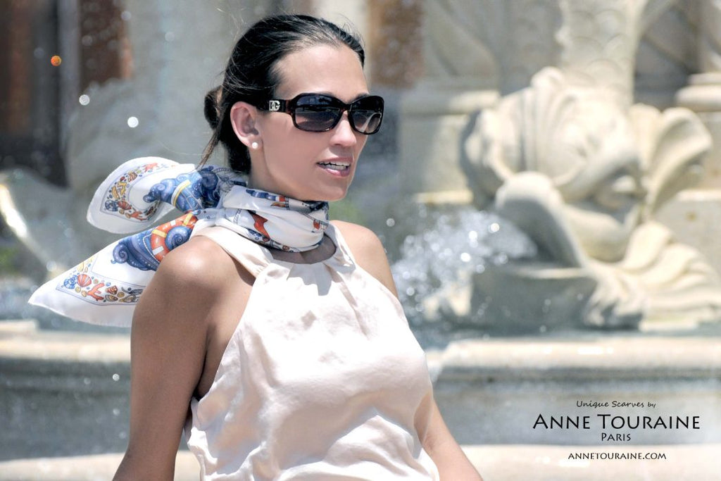 French silk scarves by ANNE TOURAINE Paris™: Nautical white scarf tied at the back of the neck