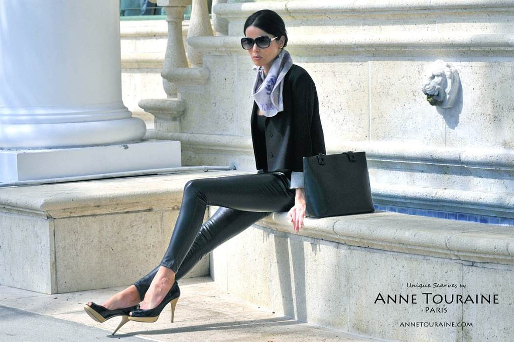 French silk scarves by ANNE TOURAINE Paris™: Paris New York grey scarf tied as a loose kerchief