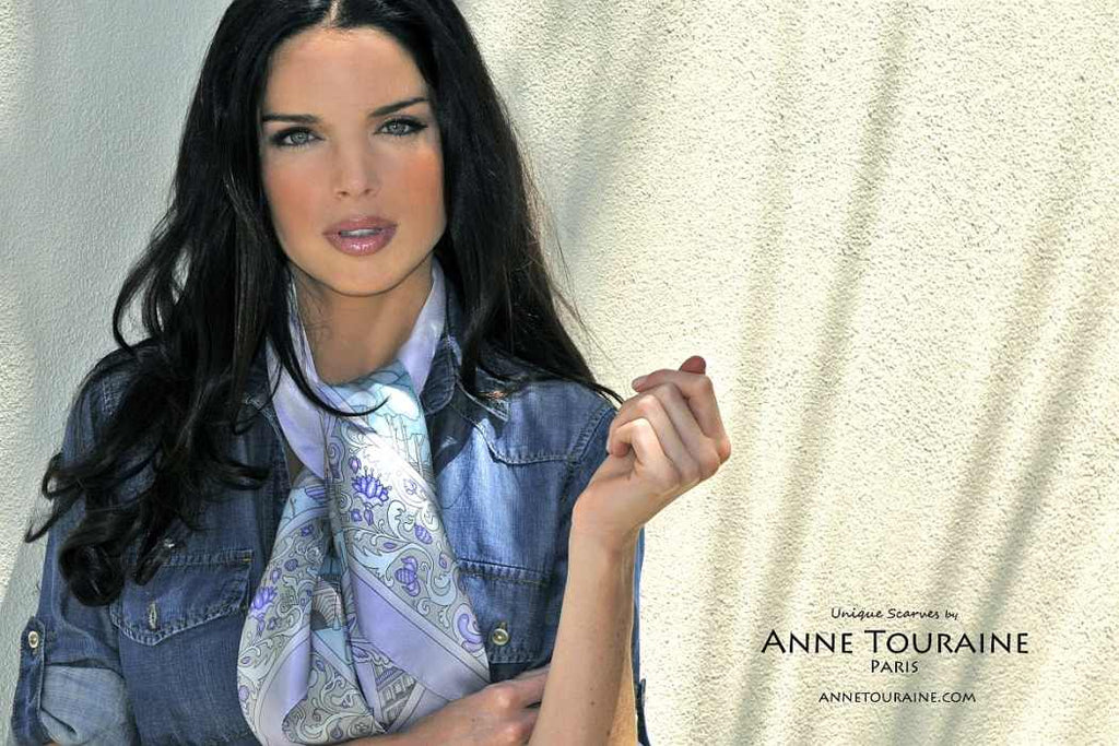 French silk scarves by ANNE TOURAINE Paris™: Paris inspired lavender blue scarf tied in a casual neck scarf