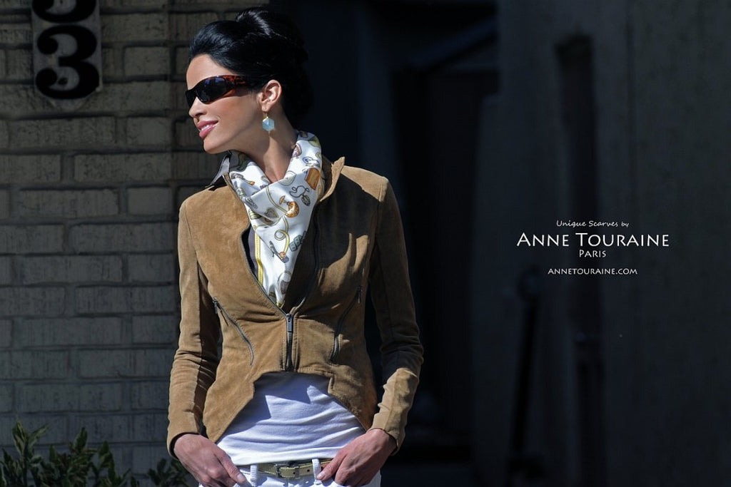 French silk scarves by ANNE TOURAINE Paris™: Brown and white Fashion Accessories scarf as a front fluffy kerchief