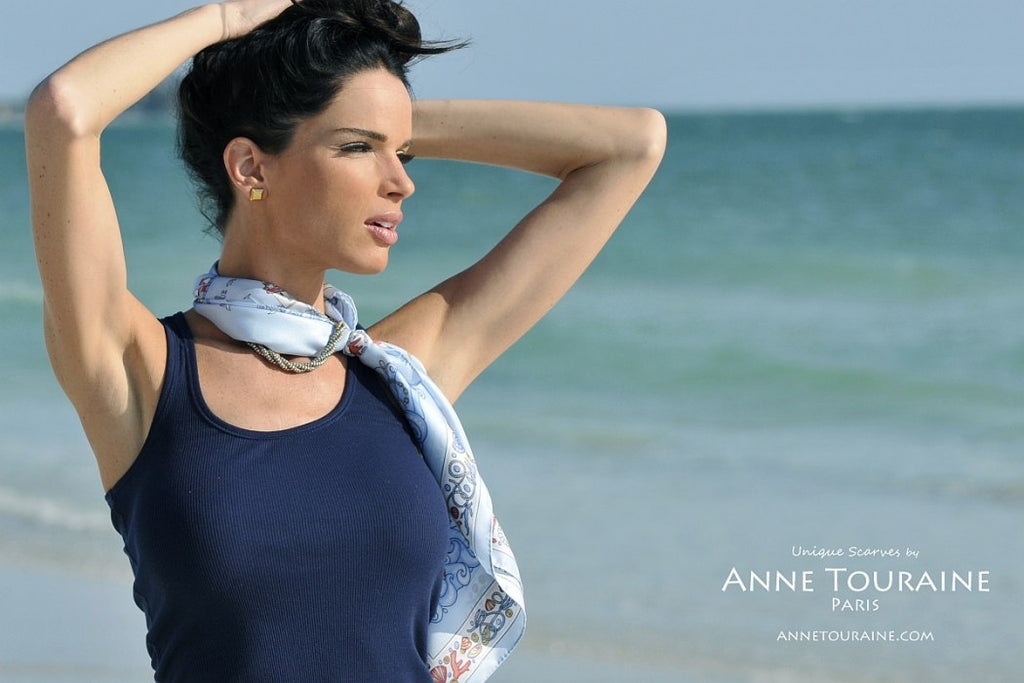 French silk scarves by ANNE TOURAINE Paris™: Nautical blue scarf as a neck scarf intertwined with a silver chain