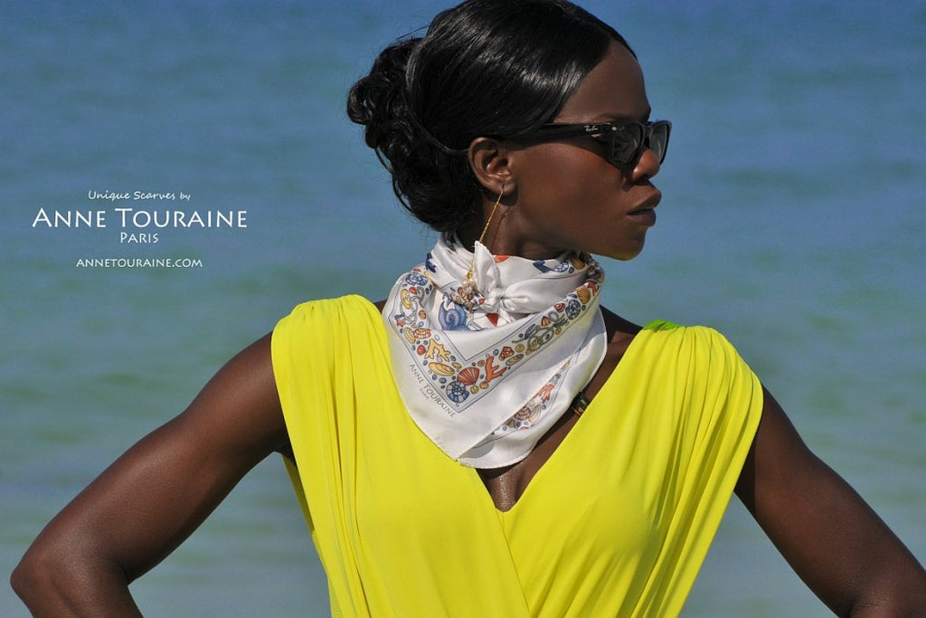 French silk scarves by ANNE TOURAINE Paris™: Nautical grey scarf tied as a fluffy bandana