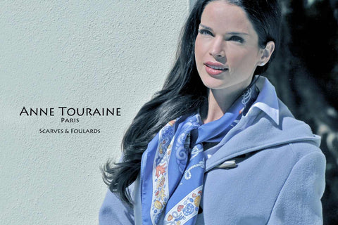 Nautical silk scarf by ANNE TOURAINE Paris™, blue color as a winter scarf