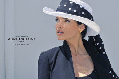 Black polka dot scarves: ANNE TOURAINE Paris™ chiffon silk stole tied around a white panama hat
