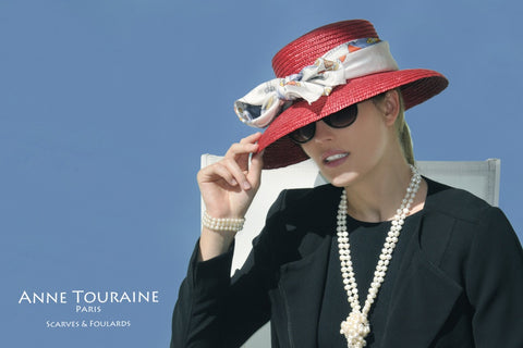 Silk scarves and hats: an ANNE TOURAINE Paris™ French scarf tied on a straw hat