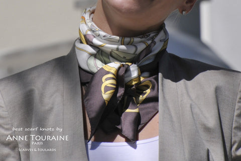 French silk scarf, white and brown, by ANNE TOURAINE Paris™ tied around the neck\