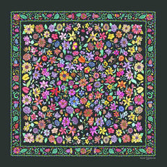 Floral scarves: FLORAL silk scarf, grey background and multicolor flowers by ANNE TOURAINE Paris™. Perfect to keep up with the floral pattern trend!