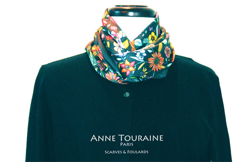 Floral scarves: FLORAL silk scarf, grey background and multicolor flowers by ANNE TOURAINE Paris™.Perfect with a black sweater.