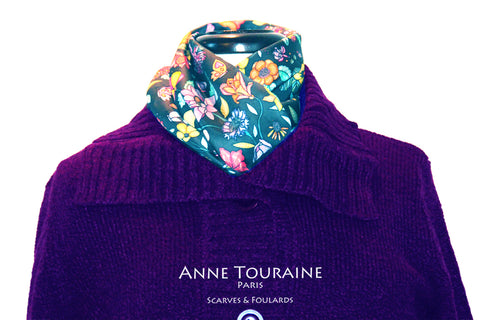 Floral scarves: FLORAL silk scarf, grey background and multicolor flowers by ANNE TOURAINE Paris™.Perfect with a purple sweater.