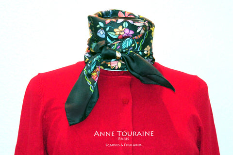 Floral scarves: FLORAL silk scarf, grey background and multicolor flowers by ANNE TOURAINE Paris™.Perfect with a fuschia red sweater.