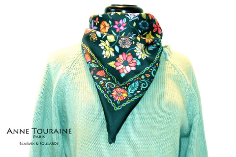 Floral scarves: FLORAL silk scarf, grey background and multicolor flowers by ANNE TOURAINE Paris™.Perfect with a light green sweater.
