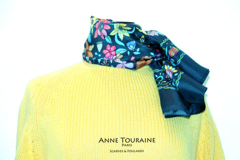 Floral scarves: FLORAL silk scarf, grey background and multicolor flowers by ANNE TOURAINE Paris™.Perfect with a yellow sweater.