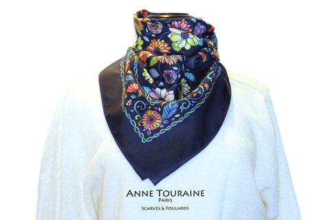 Floral scarves: FLORAL silk scarf, grey background and multicolor flowers by ANNE TOURAINE Paris™.Perfect with a white sweater.