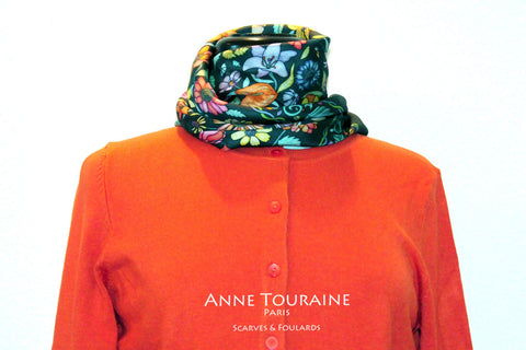 Floral scarves: FLORAL silk scarf, grey background and multicolor flowers by ANNE TOURAINE Paris™.Perfect with an orange sweater.