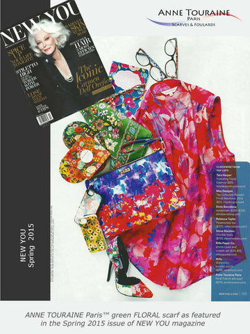 Keep up with the 2015 floral pattern trend! ANNE TOURAINE Paris™ FLORAL silk scarves as seen in NEW YOU magazine are this season's must have as