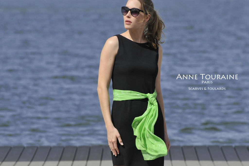 Chiffon silk scarves by ANNE TOURAINE Paris™: green cat pattern scarf tied a romantic belt