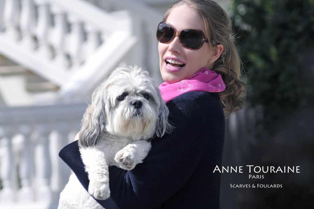 Chiffon silk scarves by ANNE TOURAINE Paris™: pink dog pattern neck scarf