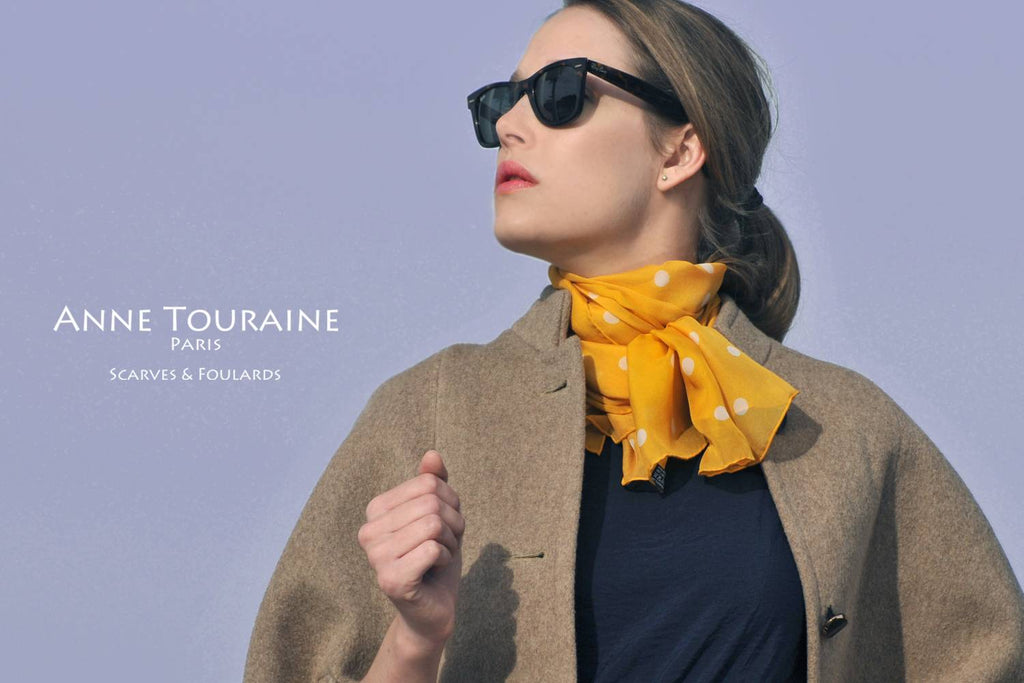 Chiffon silk scarves by ANNE TOURAINE Paris™: orange polka dot scarf wrapped several time around the neck