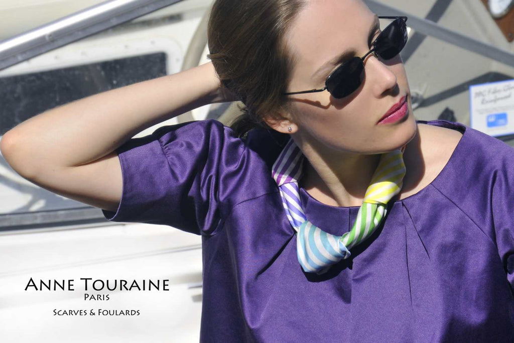 French silk scarves by ANNE TOURAINE Paris™: Striped multicolor scarf with three knots, as a silky necklace