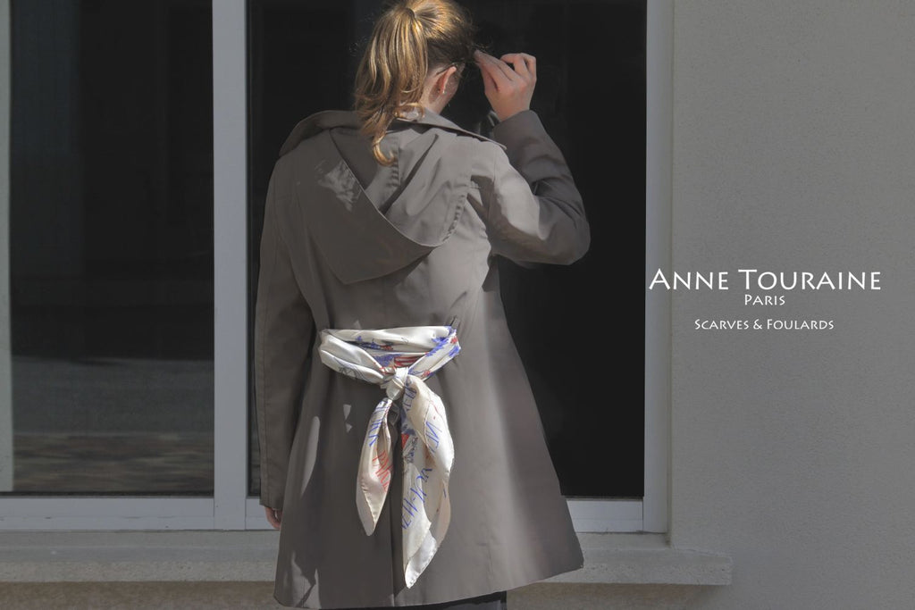 French silk scarves by ANNE TOURAINE Paris™: Paris New York beige scarf styled as a fancy trench coat belt