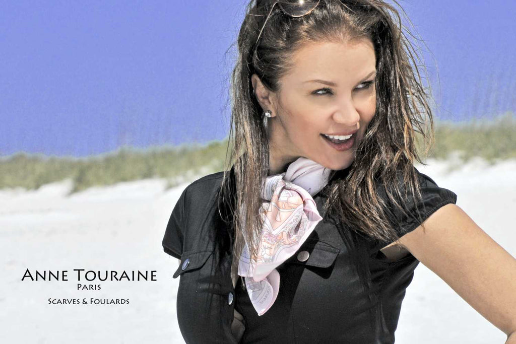 French silk scarves by ANNE TOURAINE Paris™: Paris inspired pink scarf around the neck