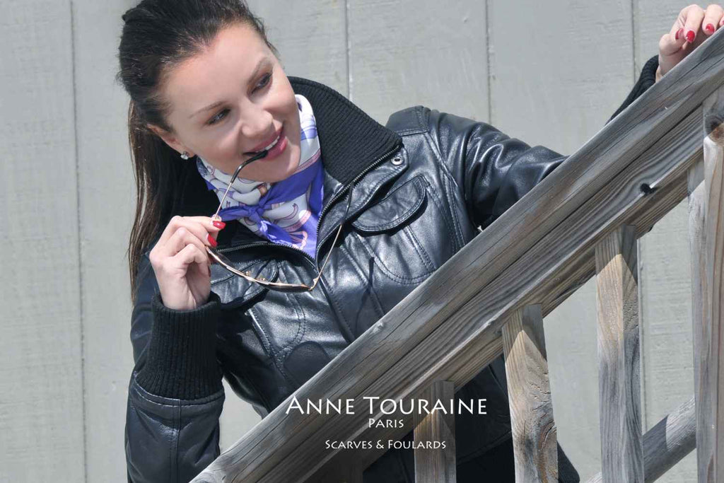 French silk scarves by ANNE TOURAINE Paris™: Blue and white Fashion Accessories scarf tied as a kerchief over a leather jacket